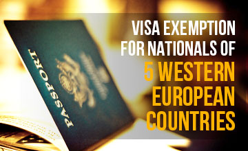 Visa exemption for visitors from five countries extended